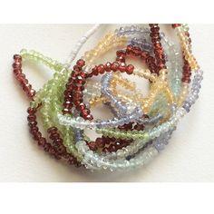 Multi Gemstone Rondelle Beads Blue Topaz Golden by gemsforjewels