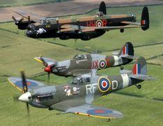 Warbirds - Battle of Britain Memorial flight. Lancaster Bomber, Spitfire and Hurricane. Aircraft Photos, Ww2 Aircraft, Fighter Aircraft, Military Aircraft, Fighter Jets, Lancaster Bomber, The Spitfires, Supermarine Spitfire, Ww2 Planes