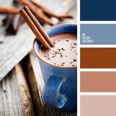 Shades of cinnamon colour and cocoa fit perfectly shades of denim-blue colour. Use this palette in bedroom and living room, as well as in kitchen. Color Harmony, Color Balance, Paint Color Schemes, Paint Colors, Blue Colour Palette, Color Palettes, Colour Board, Color Swatches, Pantone Color