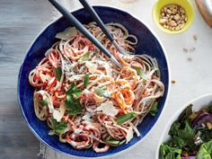 Creamy Carrot and Herb Linguine | Although vegetarian dishes are sometimes associated with complicated ingredients and techniques, these simple recipes are here to show otherwise. Totally veggie-friendly, and flavor packed, these easy recipes will satisfy everyone in the family, whether vegetarian or not. If you're looking for an easy-pack lunch then look no further than Spinach, Hummus, and Bell Pepper Wraps or Greek Spaghetti Squash Toss. If you're looking for a dinner to please everyone…