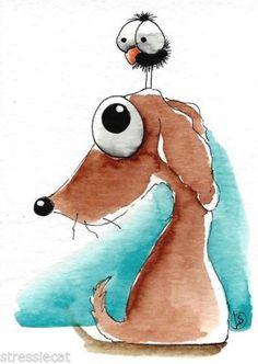 ACEO-Original-watercolor-whimsical-animal-painting-art-dog-bird-crow-big-eyes