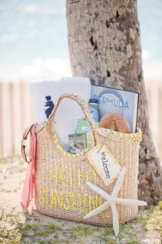 Welcome your destination wedding guests to your local with a gift basket full of sweets, maps, towels, or sunscreen!