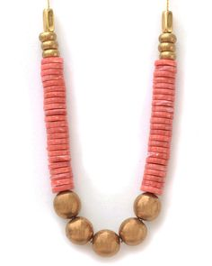 Orange and bronze necklace