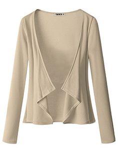 Womens Long Sleeve Jersey Knit Cardigan Draped Open Cardigan (S - 3XL)