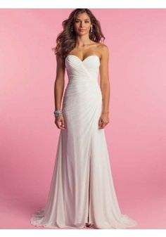 2015 Style A-line Sweetheart Sweep/Brush Train Chiffon Wedding Dresses #QS449