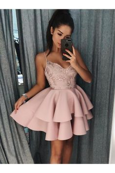 Short Homecoming Dresses Pink Prom Dress Homecoming Dresses 2018 Outlet Comely Prom Dress Short Spaghetti Straps Tiered Pink Satin Homecoming Dress With Sequins Cheap Homecoming Dresses, Hoco Dresses, Cute Dresses, Short Formal Dresses, Short Pink Prom Dresses, Pink Dresses, Graduation Dresses, Evening Dresses, Dress Prom