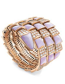 2e1883159ca Pink gold triple coil Serpenti bracelet with links of lavendar jade and  diamonds from Bugari Jewellery