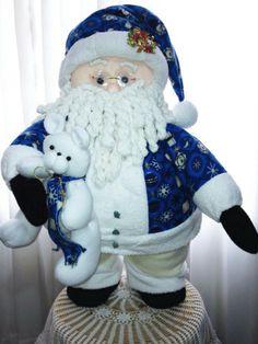 Papa noel azul Merry Christmas To All, Blue Christmas, Christmas Wishes, Christmas Humor, Vintage Christmas, Christmas Holidays, Christmas Ornaments, Fourth Of July Decor, Felt Stocking