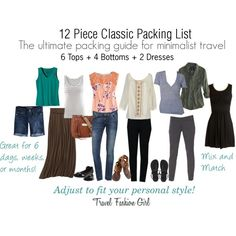 """""""12 Piece Classic Packing List"""" by travelfashiongirl on Polyvore"""
