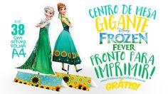 Centro de Mesa Frozen Fever grátis para você imprimir em casa, montar e usar na decoração da sua festa com o tema, com vídeo ensinando como fazer!