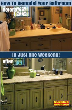 Create your dream bathroom with only one weekend of work using our Free eBook! http://info.surplus-warehouse.com/how-to-remodel-your-bath-in-one-weekend?utm_campaign=SW%20Pinterest&utm_medium=social&utm_source=pinterest