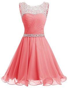 Dresstells® Short Chiffon Open Back Prom Dress With Beading Homecoming Dress: Amazon.co.uk: Clothing