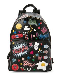 Anya Hindmarch Mochila de couro 'All Over Stickers' - Preto Trendy Backpacks, Colorful Backpacks, Girl Backpacks, Mochila Grunge, Aesthetic Backpack, Kawaii Bags, Back Bag, Anya Hindmarch, Designer Backpacks