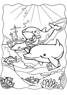 Coloring Page Dolphins 3