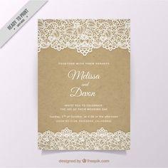 Convite de casamento do vintage com laço