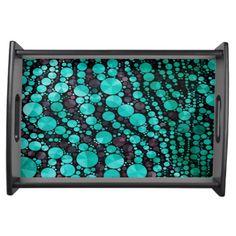 Turquoise Bling Zebra #ServingTray #homedecor #products