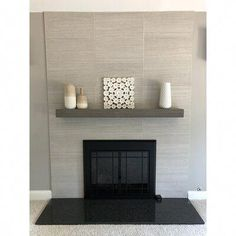 Newest Cost-Free Fireplace Mantels industrial Concepts Joel's Antiques Rustic Floating Wood Fireplace Mantel Shelf Shelf Length: Finish: Grey Fireplace Tile Surround, Wood Fireplace Mantel, Fireplace Shelves, Mantel Shelf, Home Fireplace, Fireplace Remodel, Fireplace Surrounds, Fireplace Design, Fireplace Ideas