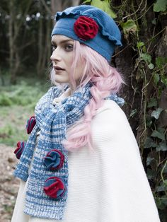 Circle Pom hat and matching scarf
