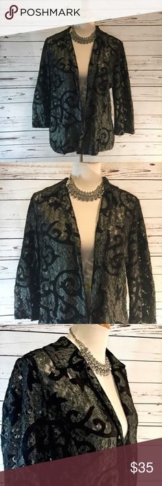 """{CHICO'S} Silver & Black Metallic Open Jacket Beautiful metallic silver and black open jacket by Chico's .  EUC, no flaws .  SiE 1 is a size Medium or 8.  All measurements  taken  flat .  Size 1 measures shoulder to hem 24, senior to armpit 20"""".  Bundle 2+ and Save 20%. Chico's Jackets & Coats"""