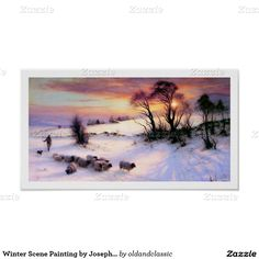 """Winter Scene Painting Christmas / New Year's / Any Occasion Gift Extra Small Poster. """"The Evening Glow"""", Oil Painting, circa 1901 - 1905. Artist Joseph Farquharson. Matching cards, postage stamp and other products available in the Christmas & New Year / Fine Art Category of the oldandclassic store at zazzle.com"""