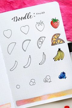 food doodle If youre changing up your theme or just want to add some decoration to your spreads this month, check out these super fun step by step food themed doodle tutorials to try in your bullet journal! Bullet Journal Lettering Ideas, Bullet Journal Notebook, Bullet Journal School, Bullet Journal Ideas Pages, Bullet Journal Inspiration, Easy Doodles Drawings, Easy Doodle Art, Cute Easy Drawings, Simple Doodles