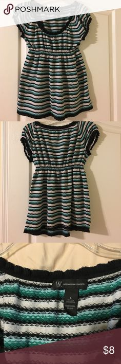 INC baby doll shirt size L This shirt may show some wear but still in great condition. Runs small so fits more like a medium. I am a D cup and the top didn't fit me very well so may be best for smaller chest. INC International Concepts Tops