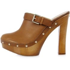 Dsquared2 14 cm Leather and Wood Sabot Clog (€228) ❤ liked on Polyvore featuring shoes, clogs, brown, dsquared2 shoes, genuine leather shoes, wooden clogs shoes, brown leather shoes and clogs footwear