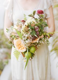 Incredible Bridal Bouquets with Fresh Green Fruits