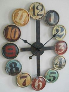 This large metal contemporary wall clock is I can be for anyone that enjoys the feel of a unique rustic design. The gritty, vintage look of this timepiece may not be appropri Rustic Wall Clocks, Kitchen Wall Clocks, Unique Wall Clocks, Rustic Walls, Farmhouse Clocks, Canning Lids, Jar Lids, Jar Lid Crafts, Diy Crafts