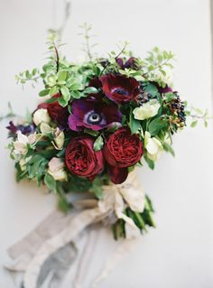 moody bouquet in reds and lavender