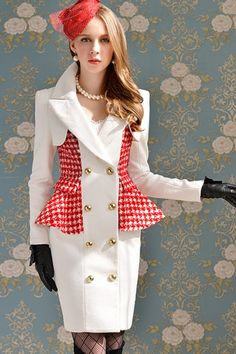 White Double-breasted Color Block Panel Woolen Coat OASAP.com