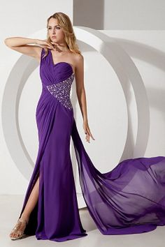 One-shoulder Elegant Purple Celebrity Gowns - Order Link: http://www.theweddingdresses.com/one-shoulder-elegant-purple-celebrity-gowns-twdn2005.html - Embellishments: Beading , Crystal , Ruched , Sequin; Length: Floor Length; Fabric: Chiffon; Waist: Natural - Price: 145.35USD