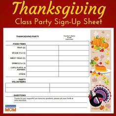 a sample class party sign up sheet that i made cool things to