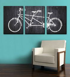 Tandem Bike Dark Grey Wood Canvas Set by ANCHORandVINE on Etsy, $175.00