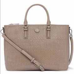 Tory Burch Robinson Double Zip Woven French Gray Tory Burch Robinson Woven soft French Gray Satchel with removable/adjustable strap.  Brand new with tags.  Includes dust bag.  Satchel is made of matte and patent leather, giving it a unique dimensional effect.  The roomy design has several interior pockets to keep belongings secure. Sold out online.  Perfect color for any season.  Classy and chic! Tory Burch Bags Satchels