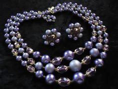 SALE Vintage Purple 3 Strand Beaded Necklace by MartiniMermaid