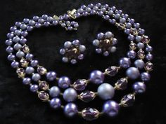 SALE Vintage Purple 3 Strand Beaded Necklace by MartiniMermaid