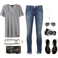 Untitled #448 by kristin-gp on Polyvore featuring Isabel Marant, Current/Elliott, Givenchy, Proenza Schouler, Jennifer Meyer Jewelry, Ray-Ban and Sagaform