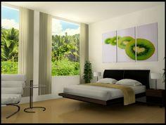 beige Holzboden-weißes Schlafzimmer-grüne Tapette