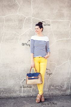 Love the yellow/white/navy combo, but I'm not bold enough for yellow pants :)