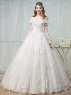 Off-The-Shoulder Appliques Beading Ball Gown Wedding Dress & quality Wedding Dresses Princess Wedding Dresses, Dream Wedding Dresses, Bridal Dresses, Wedding Gowns, Dresses Dresses, Classic Wedding Dress, Gorgeous Wedding Dress, Pretty Dresses, Beautiful Dresses