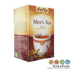 Yogi Tea - Men's Tea... Yogi Tea - Men's Tea is a harmonious blend of roasted spices with the arousing taste of chilli. A cup or two of Yogi Tea - Men's Tea are enticing copanions for daring endeavours! (15 tea bags per box).