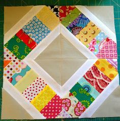 From fabric hamburger. to rainbow sandwiches. to Scrappy Sandwich blocks! The scrappy strips are . Scrappy Quilt Patterns, Jelly Roll Quilt Patterns, Jellyroll Quilts, Scrappy Quilts, Easy Quilts, Quilt Blocks, Batik Quilts, Quilt Sets, Quilting Tutorials
