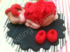 Fondant Baby in a Red Oufit and Black Base, CAKE TOPPER for that special day great of joy! baby shower, baby girl cake decorations