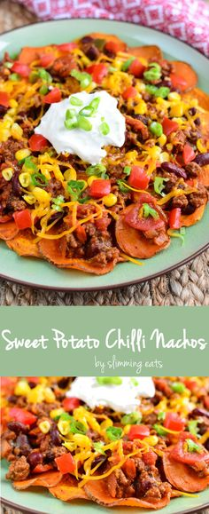 Slimming Eats Sweet Potato Chilli Nachos - gluten free, Slimming World, Weight Watchers, Paleo, and Vegetarian friendly
