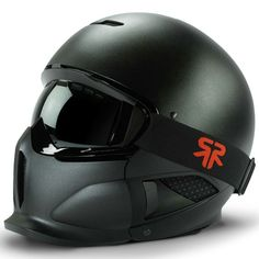 Ski/Snowboard helmet with detachable mask. Maybe if I start snowboarding more than once a year I'll invest in this. Cool Bike Helmets, Ski Helmets, Motorcycle Helmets, Snowboarding Gear, Ski And Snowboard, Snowboards, Winter Fun, Winter Sports, Helmet Covers