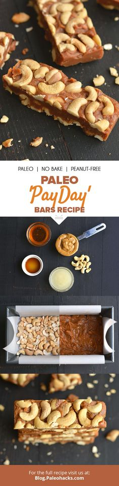 """Nutty Paleo """"Payday"""" Bars are made with cashews and creamy nut butter for a salty, chewy treat. Get the full recipe here: http://paleo.co/PaydayBars"""