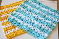 Summer Breeze Dishcloth ~ uses V-stitch ~ UPDATED APR. 21, 2016 ~ easy level ~ looks like waves ~ very pretty and different ~ FREE - CROCHET