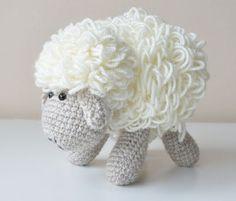 Crocheted sheep toy - white and gray amigurumi lamb