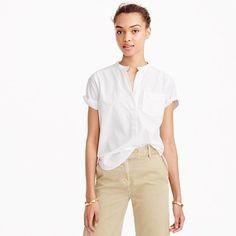 "Our designers spent lots of time fine-tuning this fun update to the classic popover. The easy, slightly cropped fit and cool shirttail hem pair perfectly with higher-waisted bottoms—and are practically begging for a half-tuck. <ul><li>Body length: 24 1/2"".</li><li>Cotton.</li><li>Button placket.</li><li>Chest pocket.</li><li>Machine wash.</li><li>Import.</li><li>Online only.</li></ul>"